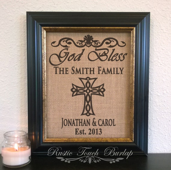 god bless our home personalized burlap print religious sign. Black Bedroom Furniture Sets. Home Design Ideas