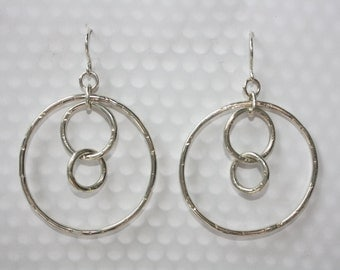 Hand Forged Textured Sterling Silver Hula Hoops