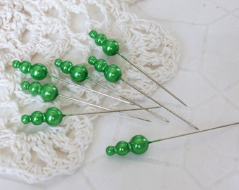 15 Vintage Green Pearl Trinket Pins Push Pins - Scrapbooking Assemblage Embellishments
