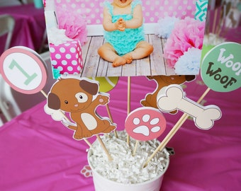 DIY Puppy Party Centerpieces // Instant Download // DIGITAL // Centerpiece Supplies // Puppy Birthday // Puppy Party // Party Decorations