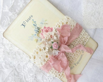 Crochet Lace Trim, Rose Cottage Supply, with Roses CARD and gift bag, RoseCottageSupply