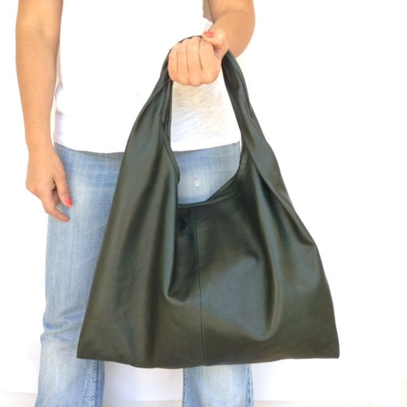 Leather Hobo Bag Green Boho Tote Shoulder Large Medium OLA Olaccessories FREE SHIPPING