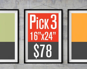 """Special: Pick Any Three 16""""x24"""" Poster and Save %20"""