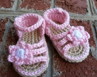MADE TO ORDER Crochet Baby Sandals, Baby Crochet Flower Sandal, Thong, Flip-Flops  - for baby girl