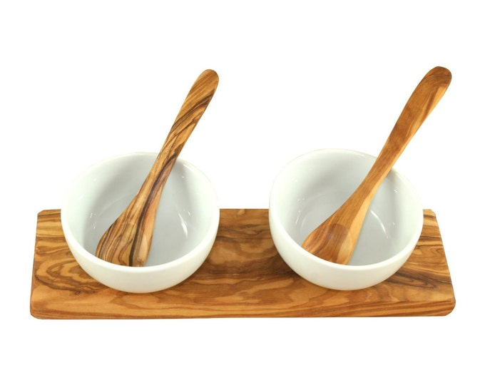 Dipschalen - set olive wood / porcelain Ø 8,5 cm wood