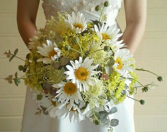 Bridal Bouquet Silk Wedding Flowers Daisy Cottage Bouquet Bride Wedding Flowers Daisies