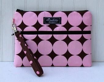 Kindle / iPad Mini / Nook / eReader / Padded Cover / Case / Zipper Wristlet- Pink Disco Dot