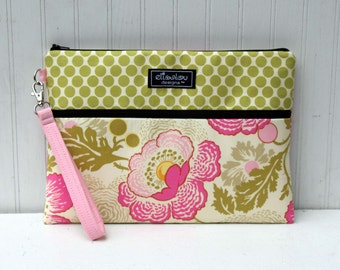 Padded Apple iPad Pouch Bag- Lime Moon and Poppies