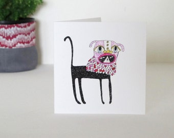 Square Greeting Card: Cat in a Dog Mask