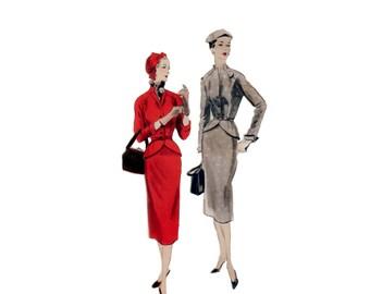 50s Vogue Peplum Jacket pattern 34-28-37 hourglass New Look Skirt Suit tailored