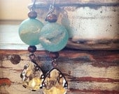 RESERVED LISTING Vintage Czech Glass Crystals & Sky Blue Semiprecious Agate Druzy Bead Earrings
