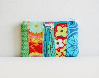 Patchwork Coin Purse Zipper Pouch Makeup Bag Cosmetic Case Amy Butler Soul Blossoms