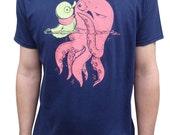 Gift for men, Funny shirt, Octopus shirt, Graphic tee, Humor Tee, Octopus Tee shirt, Blue shirt, Crew neck tee, Rubber ducky shirt