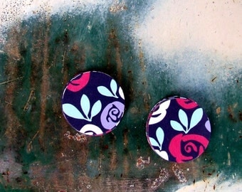 Derby Rose Flower Stickers, 20 Handmade Circle Stickers, Gift Packaging, Envelope Seals, Red Pink Purple White