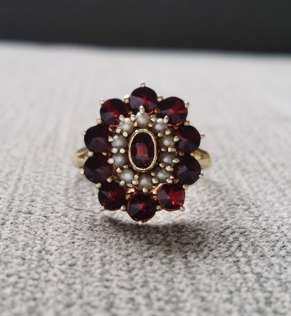 Antique Garnet And Seed Pearl Engagement Ring January Art Deco