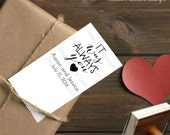 0366 NEW JLMould Hand Drawn It was Always You Love Theme Save The Date Calligraphy Wedding Custom Personalized Modern Rubber Stamp