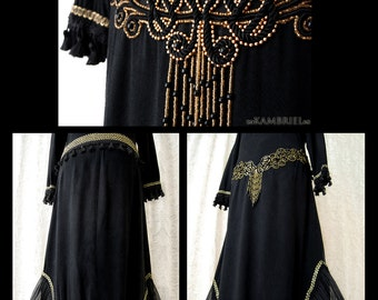 Art Deco Goth - Vintage One of a Kind Gothic Egyptian Revival Dress by Kambriel - elaborate gold & black beadwork - Ready to Ship!
