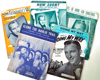 1940s Sheet Music Bing Crosby Vintage Ephemera Andrews Sisters Along the Navajo Trail Ill Be Home for Christmas Going My Way Collectible Set