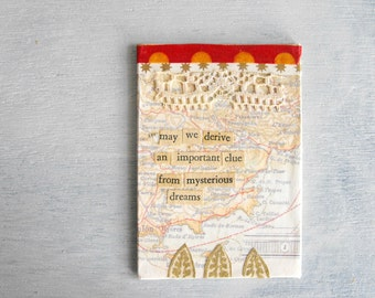Small Mixed Media Art / Map Collage France // Eco Friendly Original Art by Luluanne