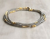 Gray Seed Bead Necklace/Bracelet with Gold Vermeil Beads Boho Chic Layering Jewelry