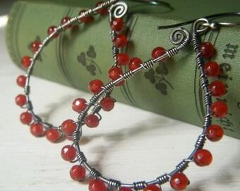 Carnelian Hoop Earrings, Sterling Silver, Sterling Wirework, Rustic Jewelry, Oxidized Hoops, Wirewrapped Paisley Earrings Carnelian Gemstone