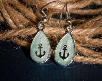 baby blue anchor teardrop earrings