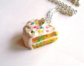 Confetti Cake Necklace, Birthday Cake Slice Charm Necklace, Sterling Silver Food Jewelry