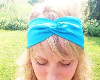 TopTwist Headband - Turban Headband -  Stretch Fabric - Aqua Blue Headband Headwrap