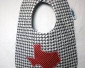 I Heart Texas Classic Bib- Black, White and Red Stars and Houndstooth