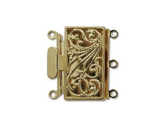 Filigree 3 Strand Push Pull Box Clasp Gold-Plated 41220 (4) Gold Box Clasps, Filigree Clasps Rectangle Clasps Jewelry Clasp Multi-Strand