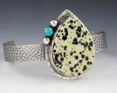 Dalmatian Jasper and Turquoise Cuff, black white and blue cuff, cuff bracelet, boho cuff bracelet, black and white cuff, sterling silver