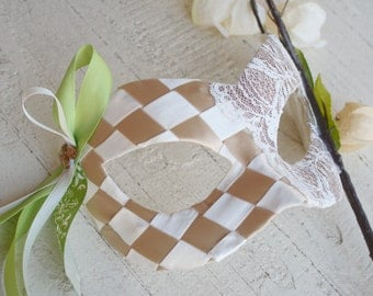 Sienna - Fairy Masquerade Ball Mask in Celery Green, Tan, and Ivory - Perfect for Spring or Summer Wedding