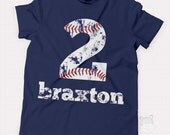 baseball birthday t shirt - baseball party shirt - distressed number and lettering - pick any number