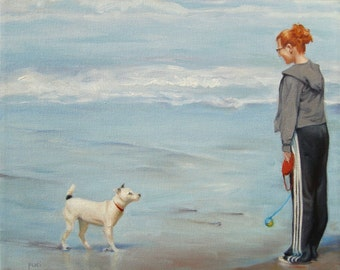 Terri with her Terrier, custom Oil Portrait Painting by puci, pet with person, 10x12""