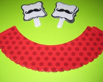 Mustache  -Cupcake wrappers, Mustache party, Mustache toppers,