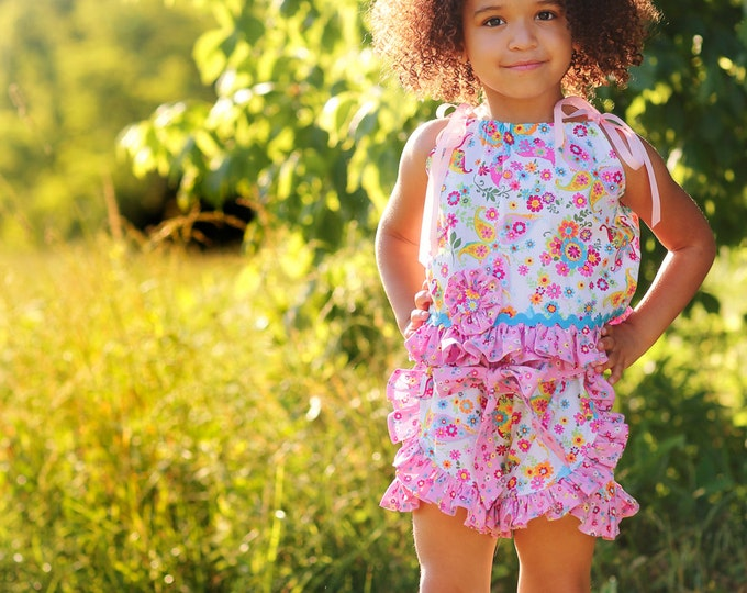 Toddler Girl Ruffle Shorts Set - Pink Outfits - Girls Clothes - Birthday - Beach - Photo Shoot - Summer Picnic - sizes 2T to 8 Years