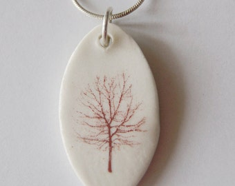 Tree Pendant on a Sterling Silver Snake Chain - Porcelain Tree Pendant - Tree Pendant
