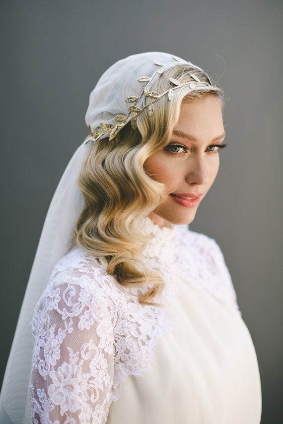Grecian Veil Juliet Cap Veil Wedding Veil Gold Leaf Halo Gold Ivy Halo Flower Crown Gold