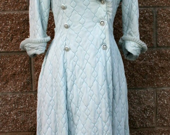 Vintage Dressing Gown ~ 1950s Hostess / Robe / Housecoat ~ Baby Blue ~ Diamond Quilted Pattern with Blue Thread ~ Frills at Collar and Cuffs