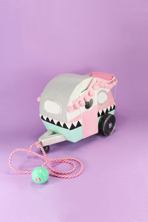 retro camper pull toy in mint and pink, caravan art sculpture for nursery