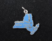 New York Charm, Vintage Blue Enamel Sterling Silver Charm, New York State Map Charm Pendant, NYC, Long Island, Statue of Liberty