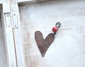 1 Salvaged tin hearts with little red bells - wedding  home decor