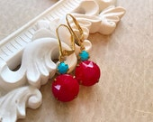 Cherry Red Earrings - Art Deco Earrings - Red and Turquoise Earrings - RETRO Cherry