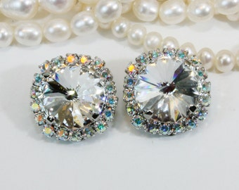 Clear Clip on earrings Crystal AB Clip Ons Bridal Earrings Diamond Like large Halo Clear Swarovski rhinestones Crystals,Silver,Clear, SE111