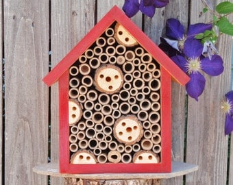 Handmade Bug House - Open Face All Natural Bug Box - Single Compartment Insect Habitat - Persnickety Bug House - Rustic Red Garden Decor