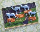Vintage Blue Circus Birthday Candle Holder Picks Original Card