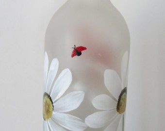 Butterfly, Daisy, Lady Bug, Frosted  Lighted Wine Bottle***Lantern ***Night light***Lamp