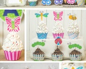 Garden Bug Spring Party printable decor kit DIY cupcake wrappers butterfly party caterpillar baby shower flowers cute girly colorful favors