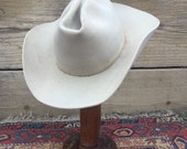 Vintage WESTERNERS Cowboy hat sz 7 1/8 Tan 1950s 1960s as found Distressed Biker rocker Festival work As-Is