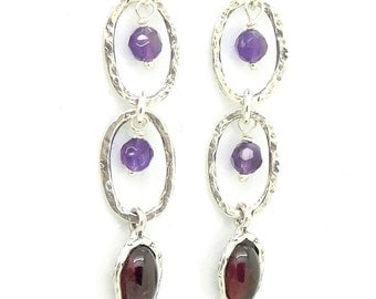 Amethyst and garnet chandelier silver earrings